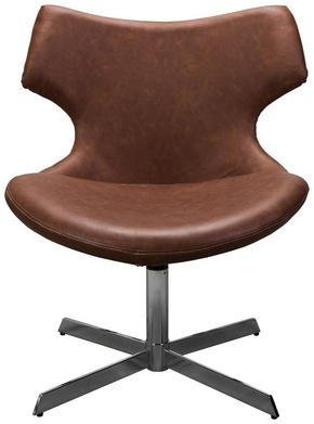 FÅTÖLJ - kromfärg/brun, Design, metall/trä (65/80/66cm) - Xora