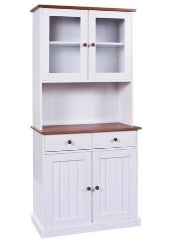 BUFFET Kiefer massiv Weiß  - Weiß/Braun, LIFESTYLE, Holz (90/191/45cm) - Carryhome