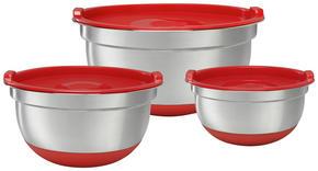 VISPSKÅLSET - röd/rostfritt stål-färgad, Basics, metall/plast (18+21+25cm) - Homeware