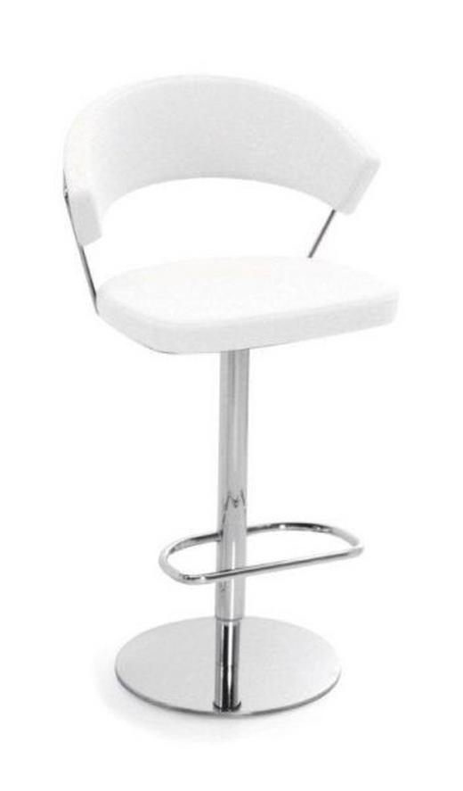 BARHOCKER in Weiß, Chromfarben - Chromfarben/Weiß, Design, Leder/Metall (57/97-110/53cm) - Calligaris