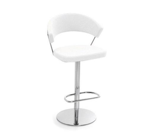 BARHOCKER Echtleder Weiß, Chromfarben  - Chromfarben/Weiß, Design, Leder/Metall (57/97-110/53cm)