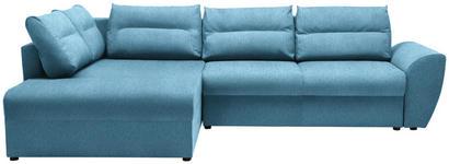 WOHNLANDSCHAFT in Textil Blau  - Blau/Schwarz, Design, Kunststoff/Textil (286/184cm) - Carryhome
