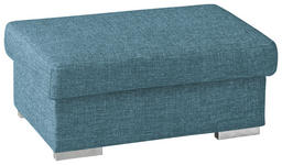 HOCKER in Textil Petrol - Chromfarben/Petrol, KONVENTIONELL, Textil/Metall (100/45/60cm) - Novel