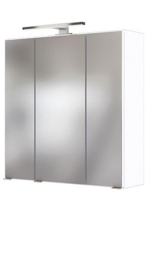 SPIEGELSCHRANK Weiß - Chromfarben/Weiß, Natur, Glas/Holzwerkstoff (60/66/20cm) - Carryhome