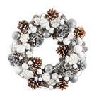VIJENAC - bijela/boje srebra, Basics, papir/daljnji prirodni materijali (35cm) - X-Mas