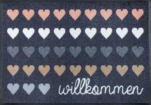 FUßMATTE 50/75 cm Herz Grau, Multicolor  - Multicolor/Grau, Basics, Kunststoff/Textil (50/75cm) - Esposa