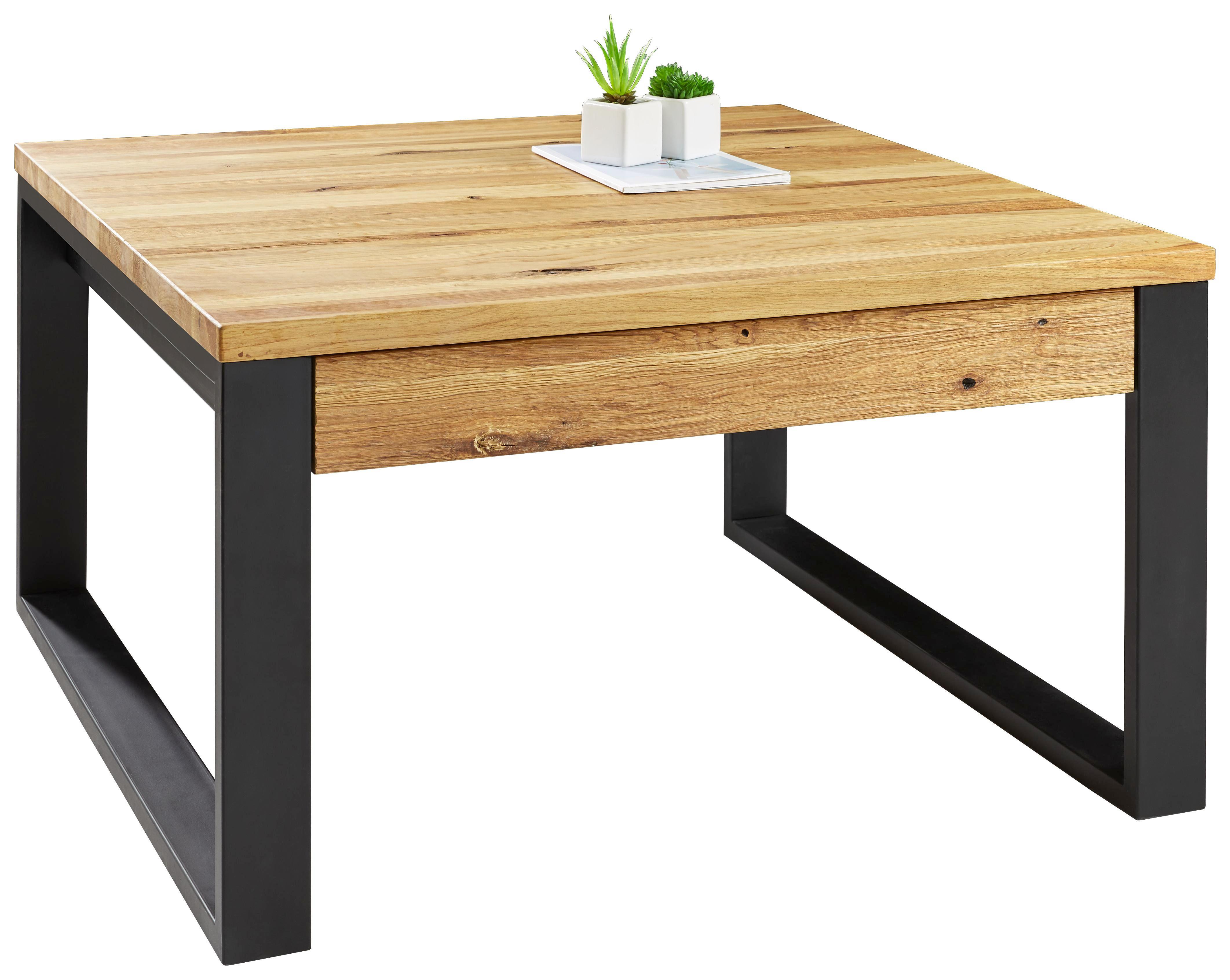 Excellent Couchtisch Eiche Massiv Quadratisch Eichefarben Schwarz Design  Holz With Couchtisch Eiche Metall