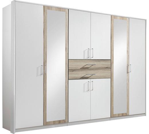 ORMAR ZA ODJEĆU - bijela/boje hrasta, Design, staklo/drvni materijal (270/208/58cm) - Hom`in