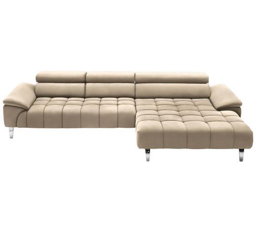 WOHNLANDSCHAFT in Textil Beige - Chromfarben/Beige, Design, Textil/Metall (329/190cm) - Beldomo Style