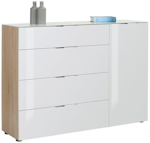 KOMMODE Eichefarben, Weiß - Eichefarben/Alufarben, Basics, Glas/Holzwerkstoff (136/100/40cm)