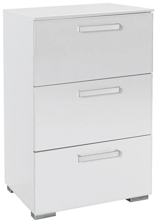 KOMMODE Weiß - Silberfarben/Alufarben, Design, Kunststoff/Metall (55/81/42cm) - Hom`in