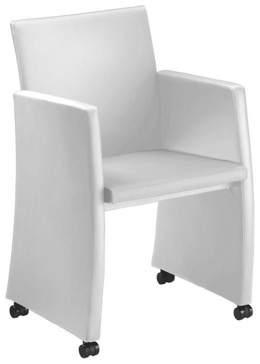 SESSEL in Metall, Kunststoff, Leder Weiß - Schwarz/Weiß, Design, Leder/Kunststoff (56/86/57cm) - Bacher