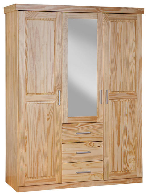 DREHTÜRENSCHRANK 3-türig Kiefer massiv Naturfarben - Silberfarben/Naturfarben, LIFESTYLE, Holz/Kunststoff (140/190/55cm) - Carryhome