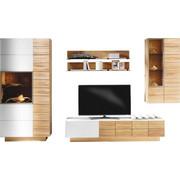 WOHNWAND Wildeiche massiv, mehrschichtige Massivholzplatte (Tischlerplatte) Weiß, Eichefarben  - Eichefarben/Weiß, Design, Glas/Holz (352/202/55cm) - Voglauer