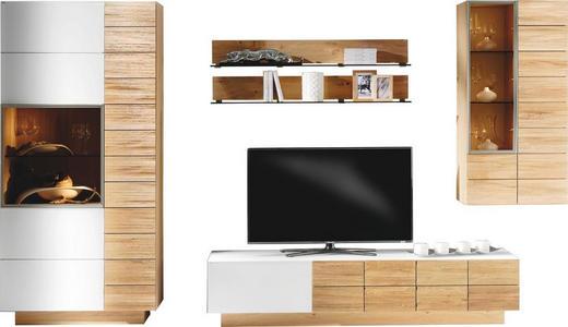 WOHNWAND Wildeiche massiv, mehrschichtige Massivholzplatte (Tischlerplatte) Eichefarben, Weiß - Eichefarben/Weiß, Design, Glas/Holz (352/202/55,2cm) - Voglauer
