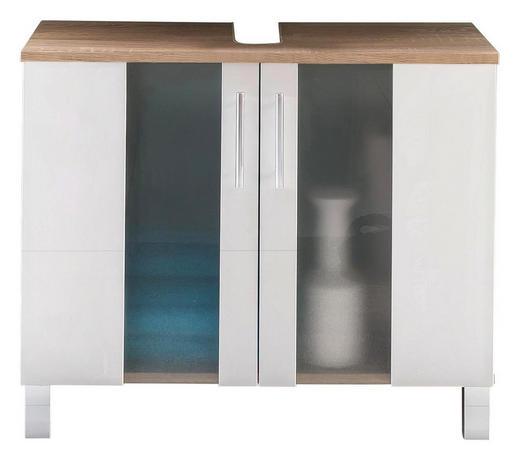 WASCHBECKENUNTERSCHRANK Weiß - Chromfarben/Eichefarben, Design, Glas/Holzwerkstoff (65/54/31cm) - Xora