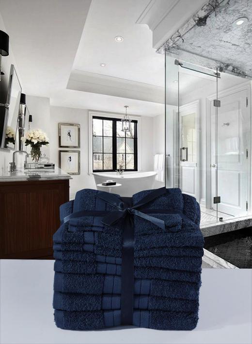 FROTTIERSET 8-teilig - Blau, Textil