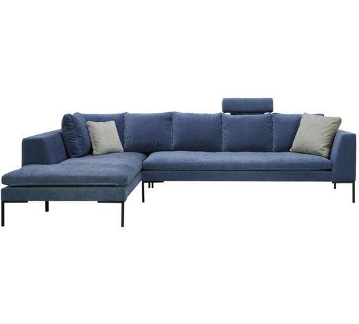 WOHNLANDSCHAFT in Textil Blau - Blau/Schwarz, Design, Textil/Metall (230/319cm) - Lomoco