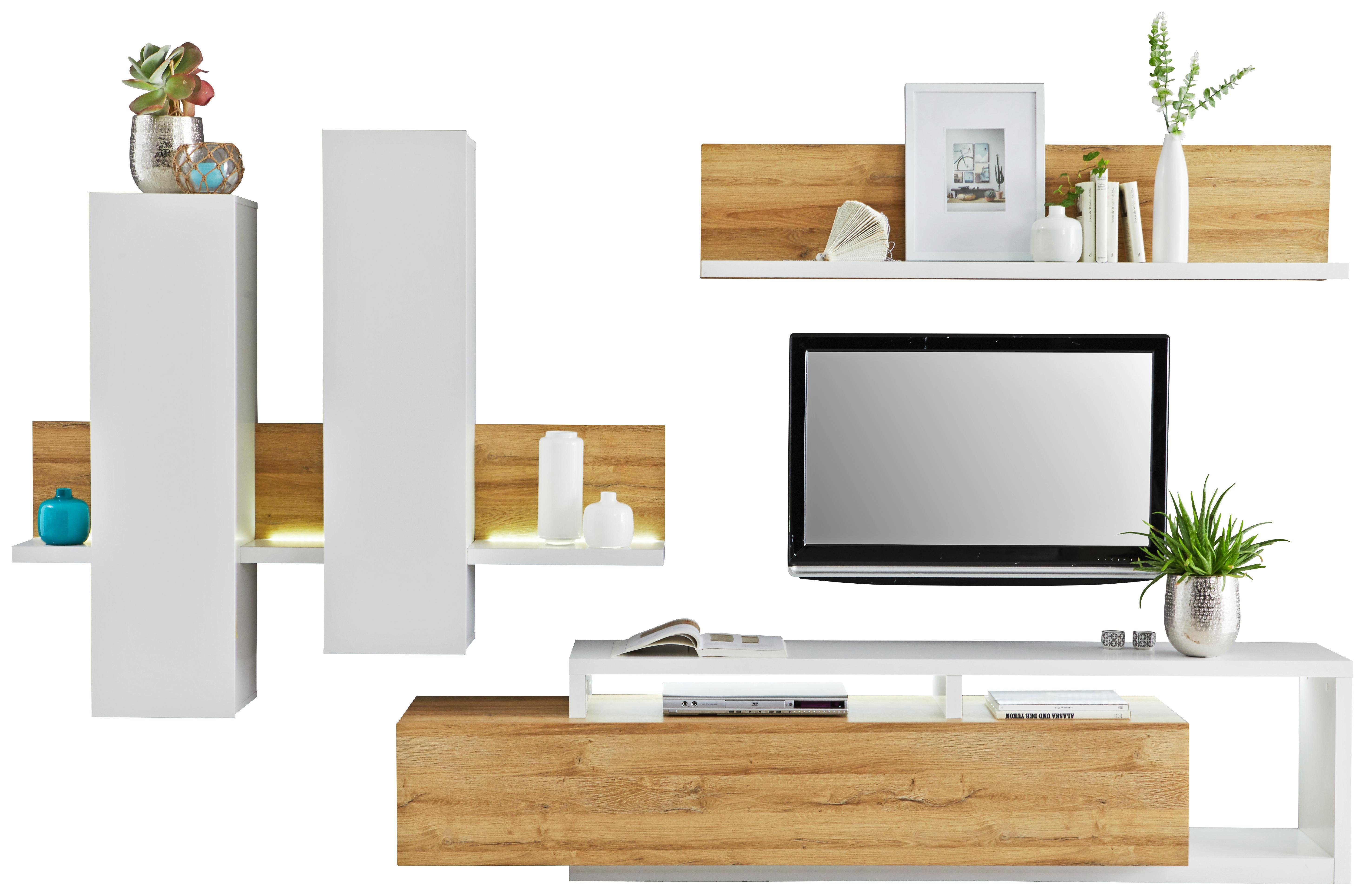 WOHNWAND Eichefarben, Weiß   Eichefarben/Weiß, Design, Holzwerkstoff  (319/155
