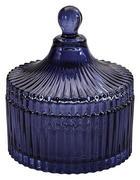 Bonboniere mit Deckel - Dunkelblau, Basics, Glas (11cm)