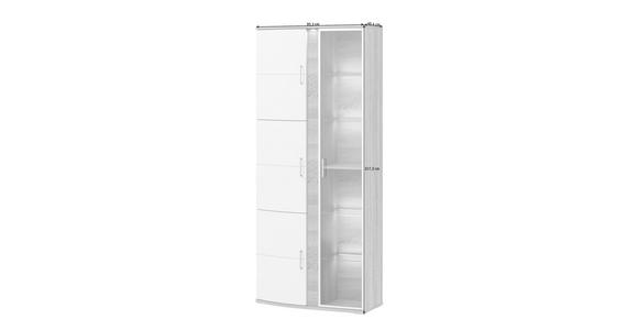 VITRINE in Weiß, Eichefarben  - Eichefarben/Alufarben, Design, Glas/Holzwerkstoff (95,3/217,2/40,4cm) - Xora