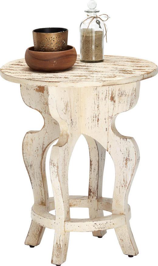 BEISTELLTISCH Mangoholz massiv rund Braun, Weiß - Braun/Weiß, Trend, Holz (45/55/45cm) - Ambia Home