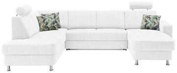 WOHNLANDSCHAFT in Textil Weiß - Chromfarben/Multicolor, Design, Kunststoff/Textil (198/301/165cm) - Xora