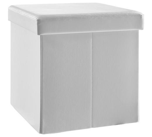 SEDACÍ BOX, vzhled kůže, netkaná textilie,  - bílá, Basics, kompozitní dřevo/textil (38/38/38cm) - Carryhome