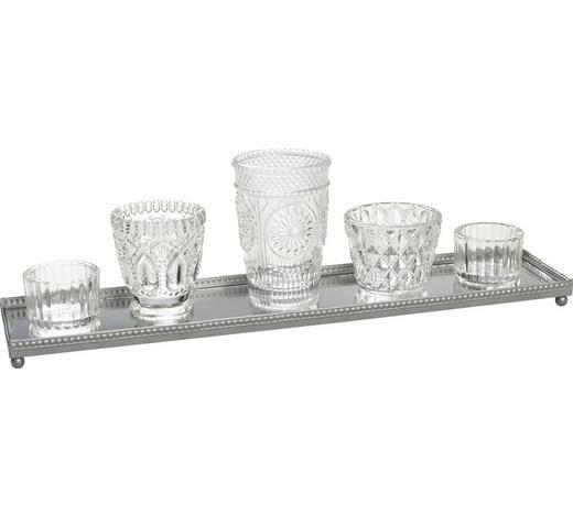 TEELICHTHALTER-SET - Klar/Silberfarben, Trend, Glas/Metall - Ambia Home