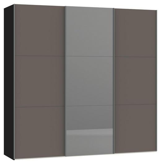 SCHWEBETÜRENSCHRANK 3-türig Grau, Schwarz - Silberfarben/Schwarz, Design, Glas/Holzwerkstoff (227,6/220/65cm) - Jutzler