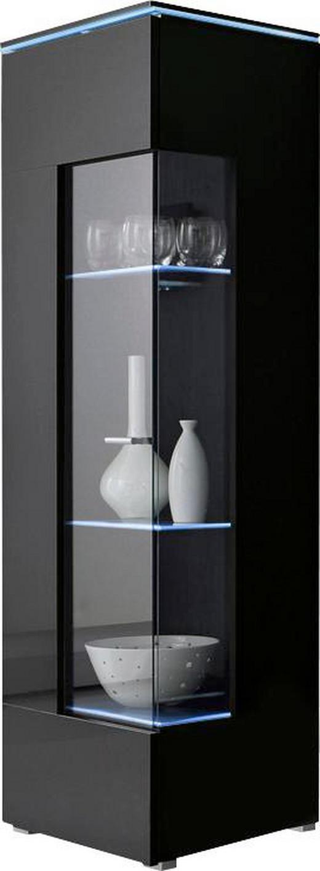 VITRINE Schwarz - Silberfarben/Schwarz, Design, Glas/Kunststoff (50/148/47cm) - Carryhome
