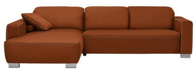 WOHNLANDSCHAFT in Textil Braun, Orange  - Chromfarben/Braun, Design, Holz/Textil (195/296cm) - Hom`in
