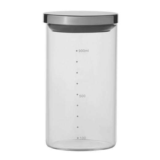 VORRATSGLAS 1,2 L - Klar/Silberfarben, Basics, Glas/Kunststoff (9/18cm) - HOMEWARE