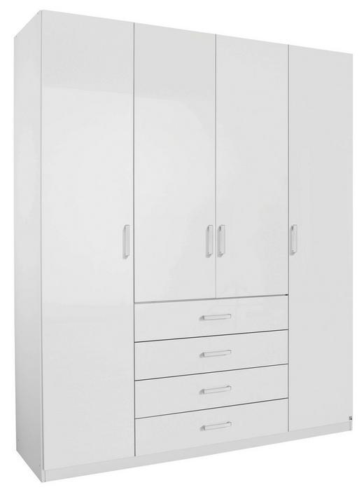 KLEIDERSCHRANK 4  -türig Weiß - Alufarben/Weiß, Design, Holzwerkstoff/Metall (181/222/60cm) - HOM`IN