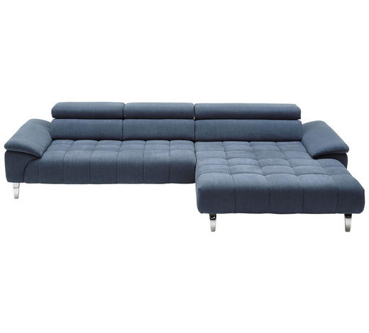 WOHNLANDSCHAFT in Textil Blau - Chromfarben/Blau, Design, Textil/Metall (329/190cm) - Beldomo Style
