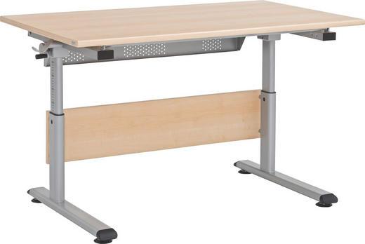 JUGENDSCHREIBTISCH - Silberfarben/Ahornfarben, Basics, Holzwerkstoff/Metall (120 53-79 70cm) - Paidi