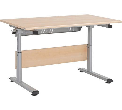 PSACÍ STŮL, barvy stříbra, barvy javoru, výškově nastavitelné - barvy stříbra/barvy javoru, Basics, kov/kompozitní dřevo (120/53-79/70cm) - Paidi