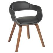 STUHL Lederlook Pappel, Walnuss furniert, massiv Schwarz, Walnussfarben  - Walnussfarben/Schwarz, Trend, Holz/Textil (52/71/51cm) - Kare-Design