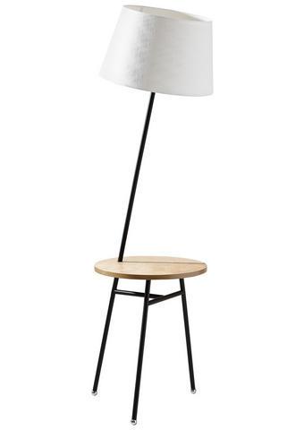 STOJACÍ LAMPA - bílá/černá, Design, kov/dřevo (45/158cm) - Dieter Knoll