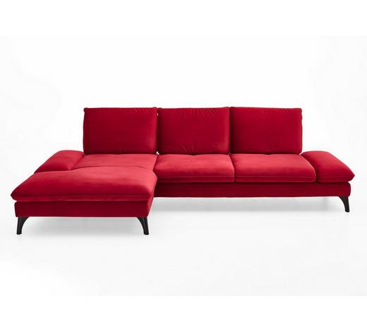 WOHNLANDSCHAFT in Textil Rot  - Rot/Schwarz, Design, Textil/Metall (176/338cm) - Voleo