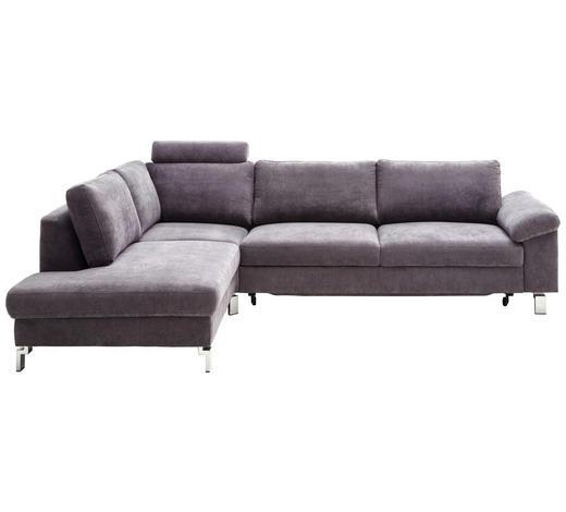 WOHNLANDSCHAFT in Textil Silberfarben - Chromfarben/Silberfarben, Design, Textil/Metall (200/281cm) - Pure Home Lifestyle