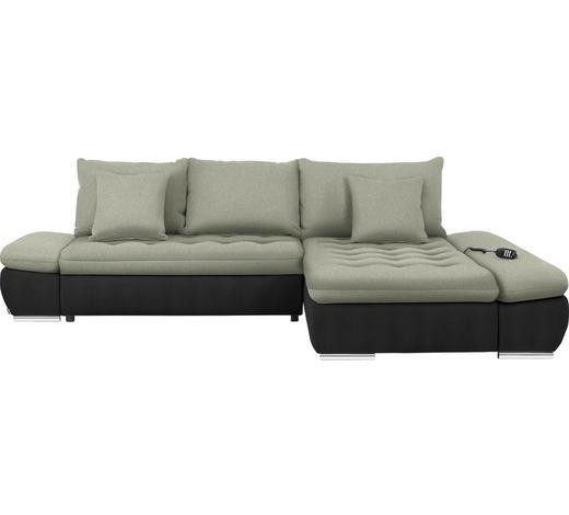 WOHNLANDSCHAFT in Textil Schwarz, Beige - Chromfarben/Beige, Design, Textil/Metall (309/200cm) - Hom`in