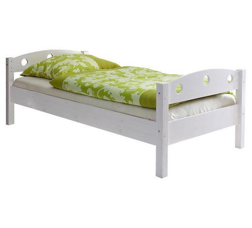 BETT Kiefer massiv 90/200 cm  - Weiß, ROMANTIK / LANDHAUS, Holz (90/200cm) - Carryhome