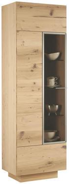 VITRÍNA, dýha, vícevrstvá deska z masivního dřeva, divoký dub, barvy dubu - barvy stříbra/barvy dubu, Natur, kov/dřevo (64/202/42cm) - Voglauer