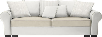 BIGSOFA in Creme, Naturfarben Textil - Creme/Braun, Trend, Kunststoff/Textil (256/74-90/106cm) - Hom`in