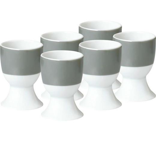 EIERBECHERSET Keramik Porzellan 6-teilig  - Weiß/Grau, Basics, Keramik (4,5/6,5cm)