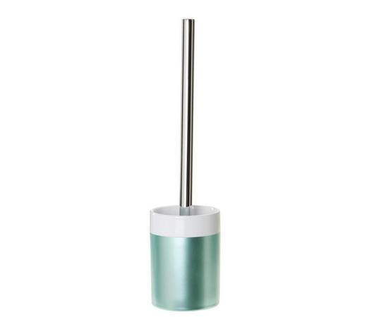 GARNITURA TOALETNE ČETKE - tirkizna/boje kroma, Konvencionalno, plastika/keramika (9,1/36cm) - Celina