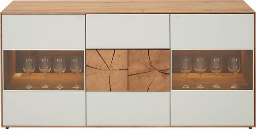 SIDEBOARD Kerneiche vollmassiv gebürstet, gewachst, lackiert, matt Eichefarben, Weiß - Eichefarben/Weiß, Design, Glas/Holz (175/80,5/49cm) - Valnatura