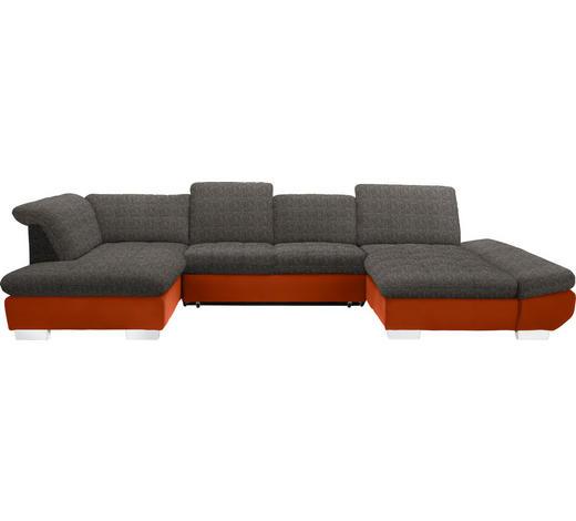 WOHNLANDSCHAFT in Textil Braun, Orange - Chromfarben/Braun, Design, Kunststoff/Textil (211/350/204cm) - Xora
