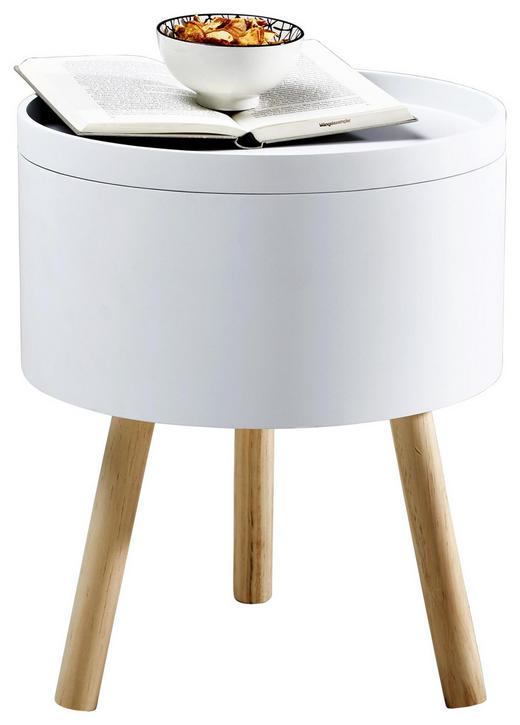 BEISTELLTISCH Pinie massiv rund Weiß - Weiß, Holz (37,5/45cm)
